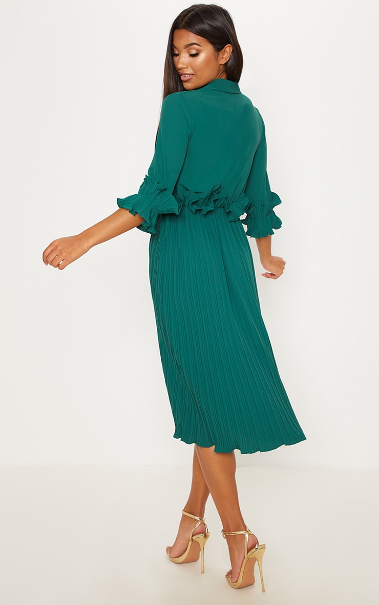 Emerald Green Frill Detail Pleated Midi Dress 2