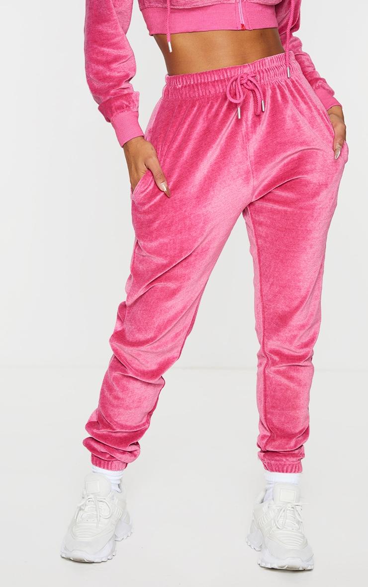 PRETTYLITTLETHING Shape Hot Pink Velour Skinny Joggers 2