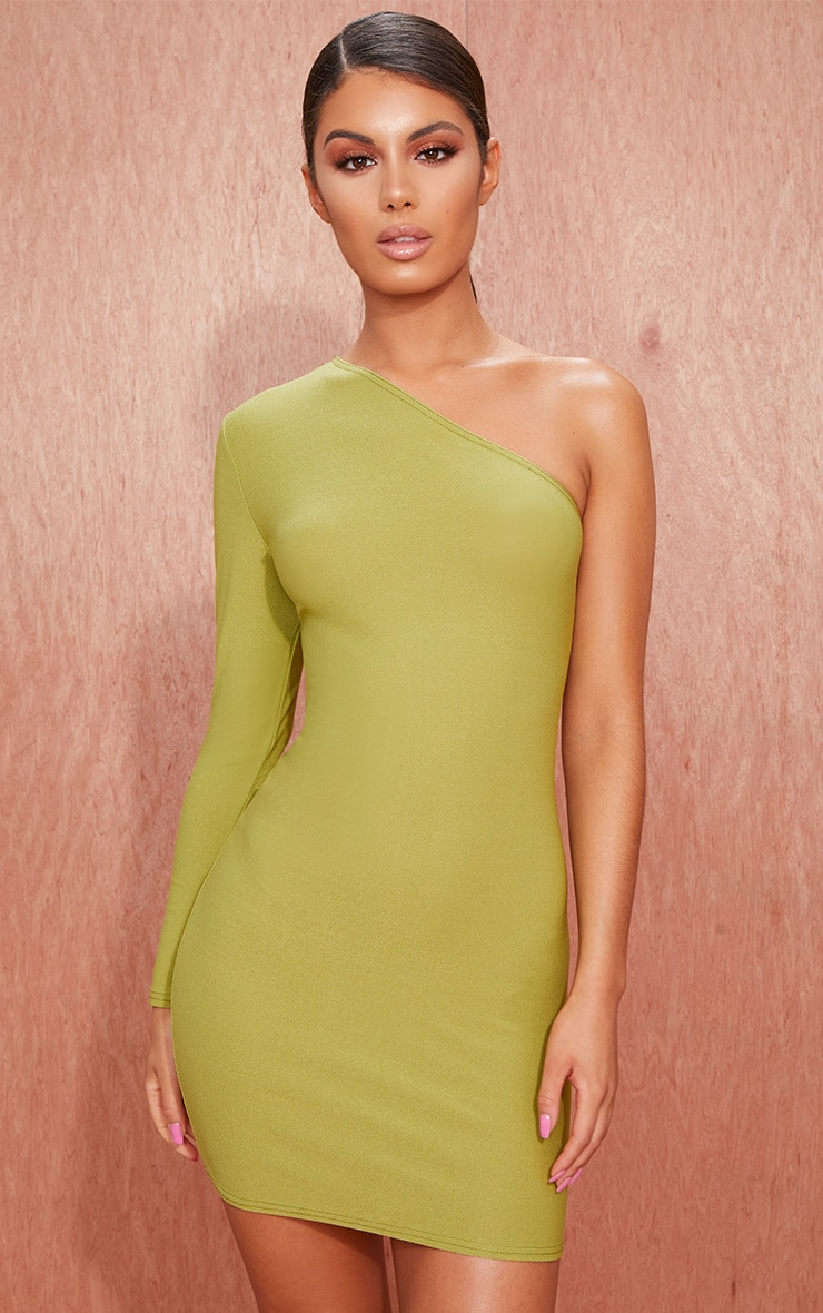 Olive Green Crepe One Sleeve Bodycon Dress 1