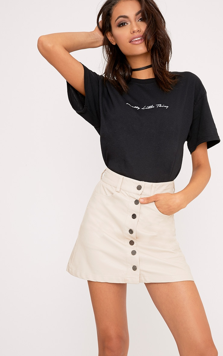 Ayanna Nude Faux Leather Button A-Line Mini Skirt 1