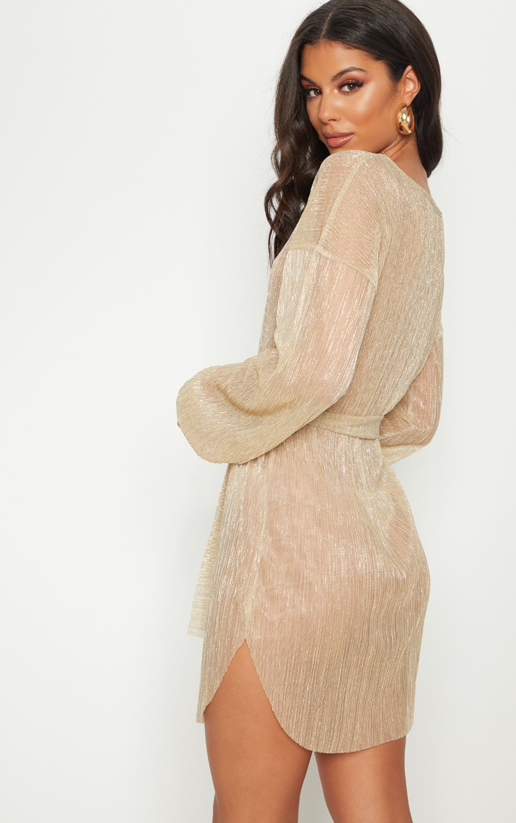 Gold Plisse Balloon Sleeve Sheer Shift Dress 2