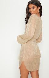 Gold Plisse Balloon Sleeve Sheer Shift Dress 2