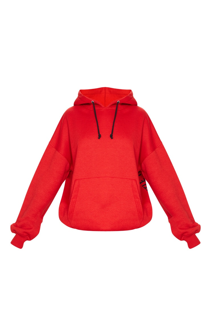 PRETTYLITTLETHING Red Oversized Slogan Back Pocket Front Hoodie 5