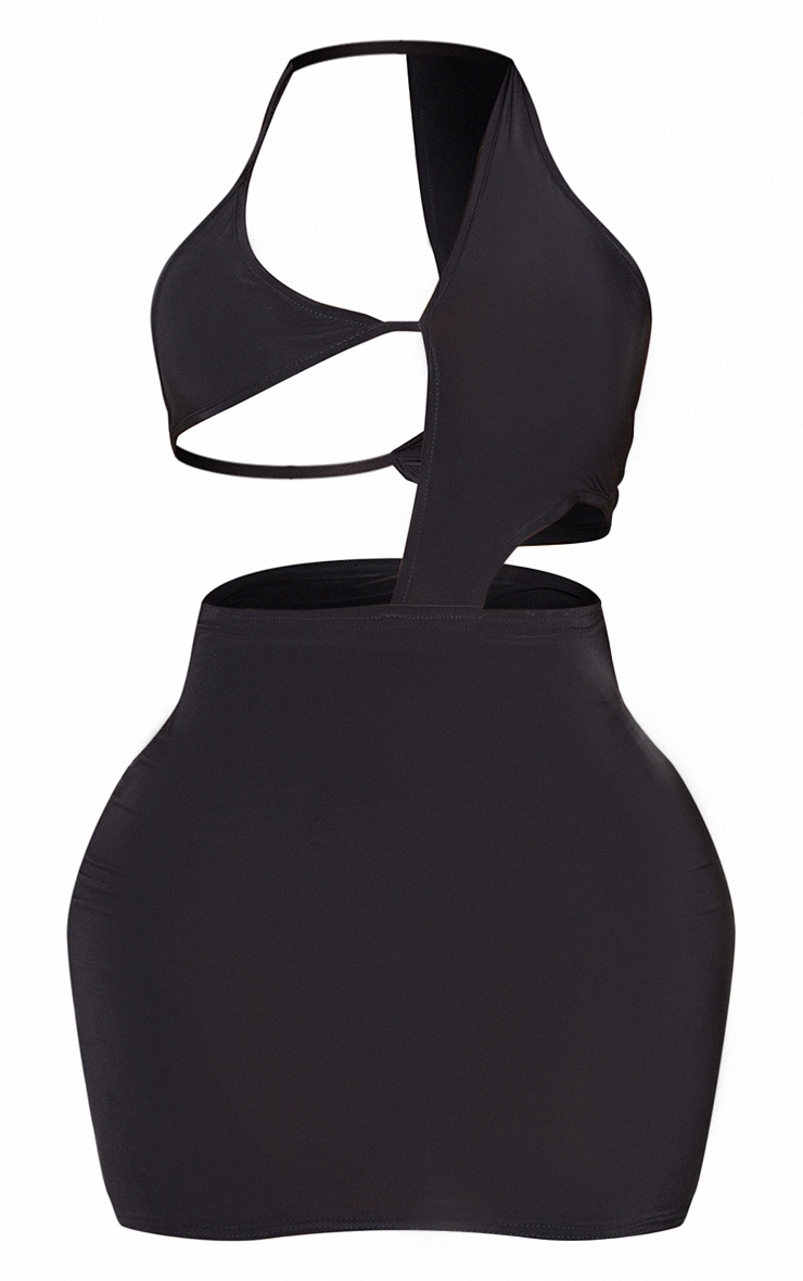 Shape Black Slinky Triangle Detail Cut Out Bodycon Dress 5
