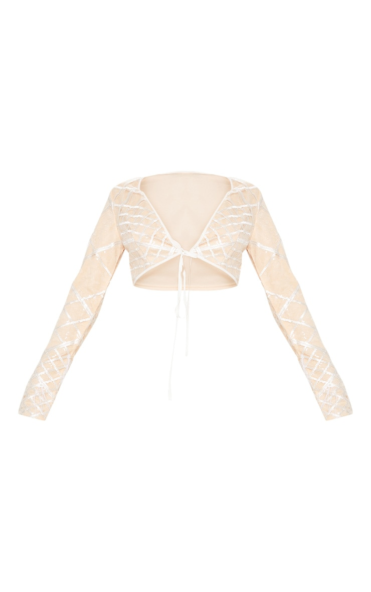 Nude Embroidered Sequin Frill Sleeve Crop Top 3