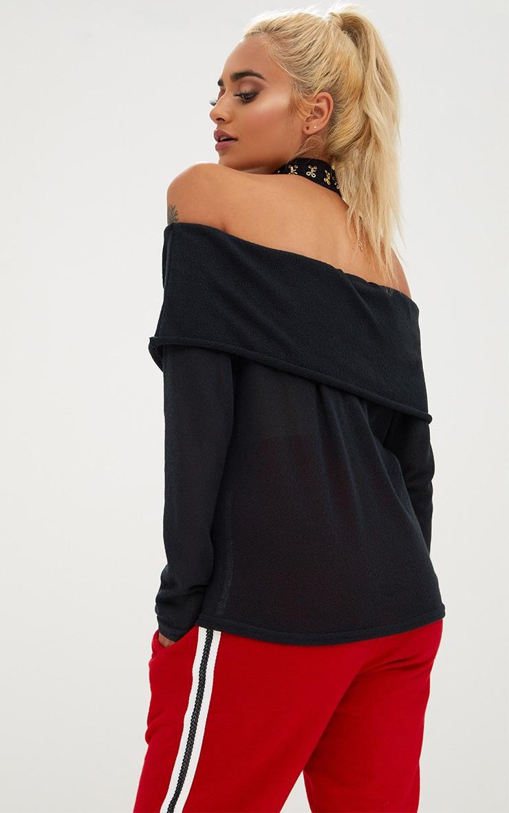 Black Lightweight Knit Bardot Longsleeve Top 2