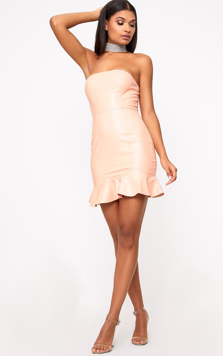 Nude PU Frill Hem Bodycon Dress 4