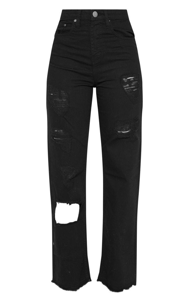 Tall Black Distressed Straight Leg Jean 3