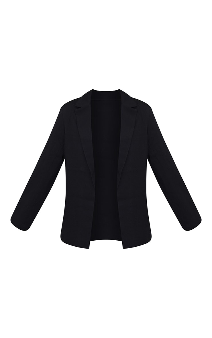 Black Woven Tailored Longline Blazer 5