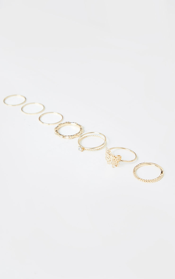 Gold Butterfly And Mixed Ring 7 Pack 3