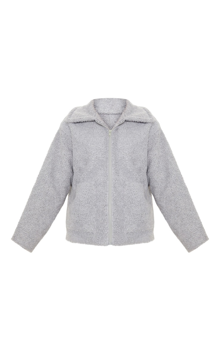 Grey Borg Zip Up Oversized Jacket 3