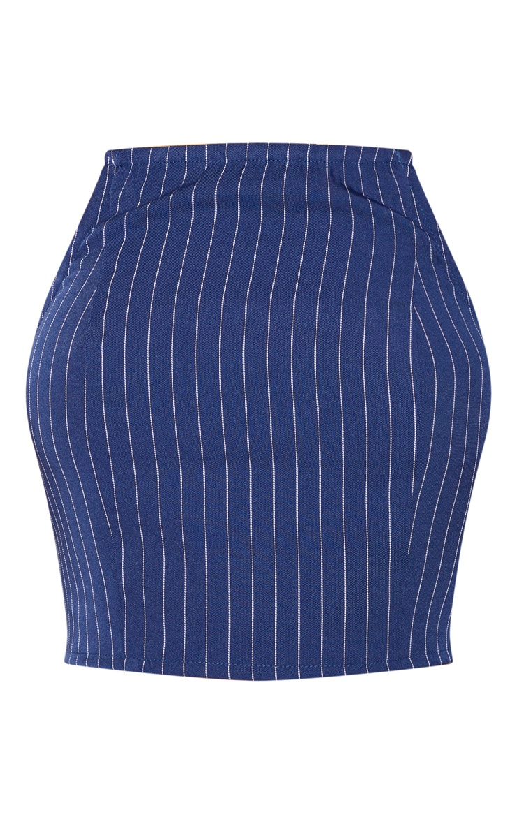 Navy Pinstripe Bandeau Crop Top 3