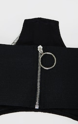 Black With Silver Chain Cut Out Corset Belt 4