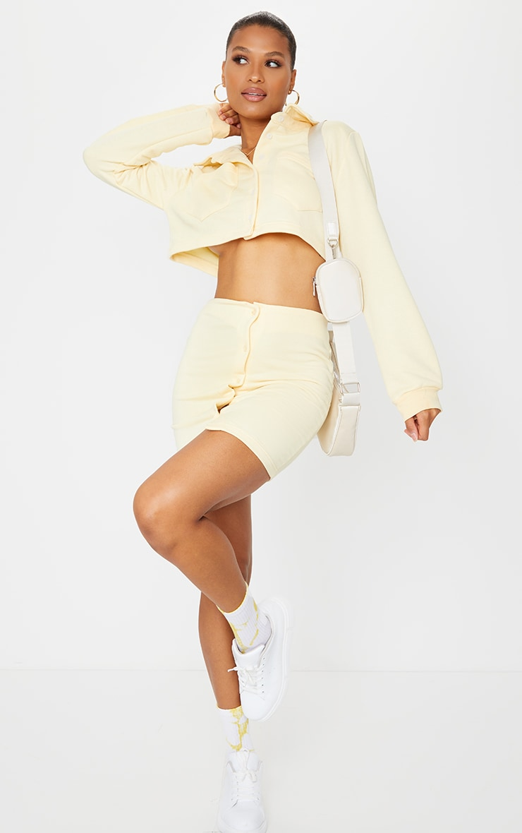 Cream Button Front Sweat Mini Skirt 4