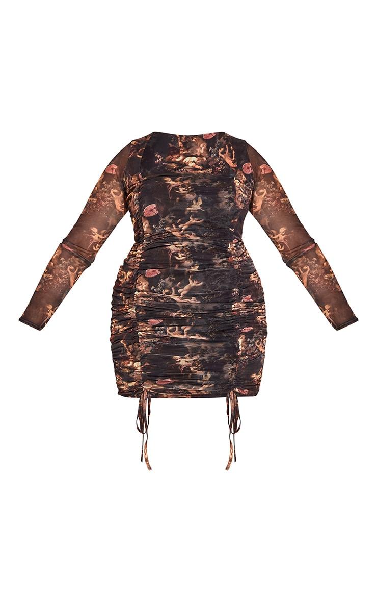 PLT Plus - Robe moulante froncée à imprimé Renaissance noir et manches longues 5