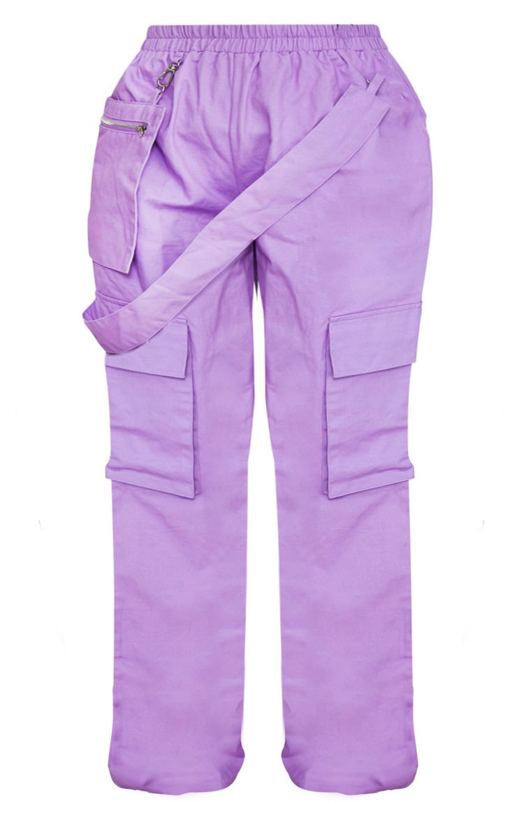 Plus Lilac Zip Pocket Detail Wide Leg Cargo Pants 4