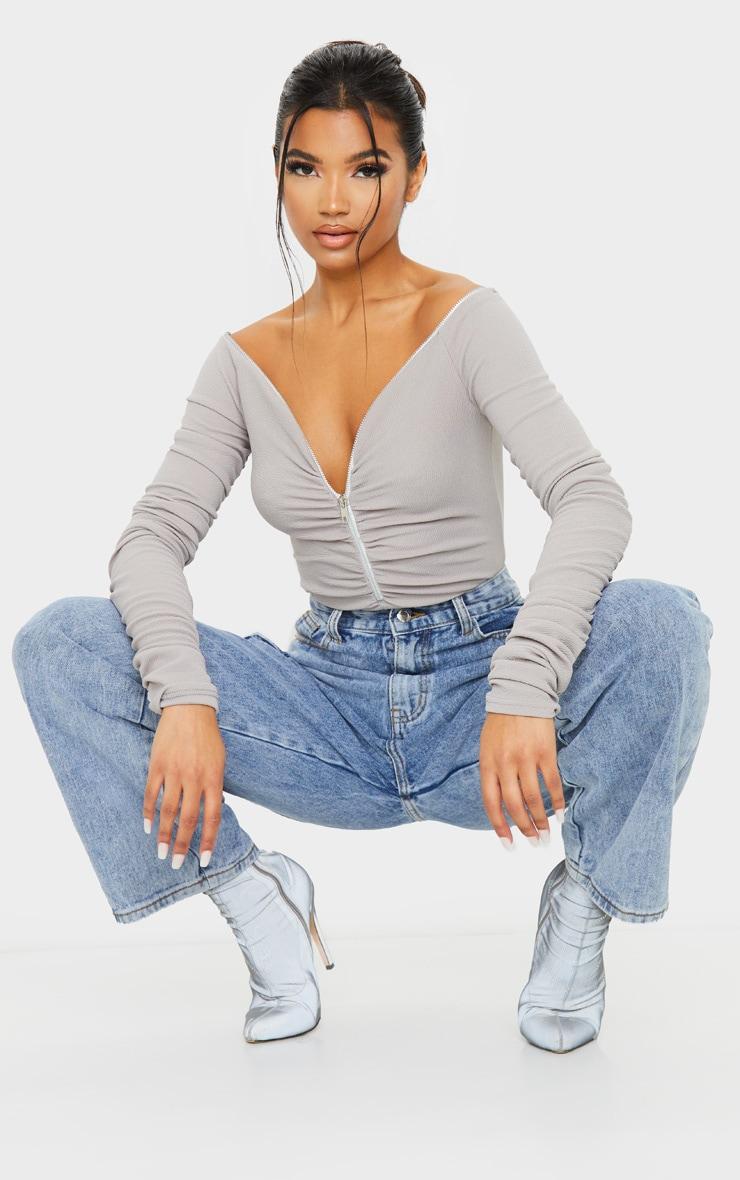 Grey Bardot Zip Ruched Sleeve Bodysuit 3