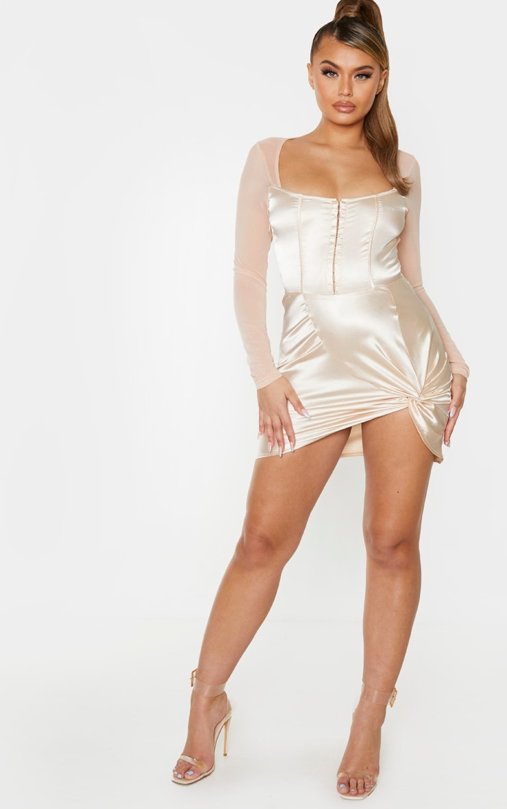 Champagne Satin Hook & Eye Mesh Sleeve Bodycon Dress 3