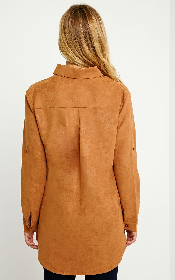 Blithe Camel Faux Suede Oversized Shirt 2