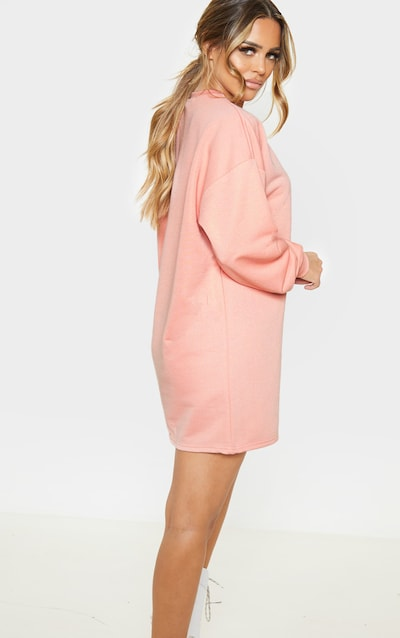 PRETTYLITTLETHING Petite Peach Embroidered Jumper Dress