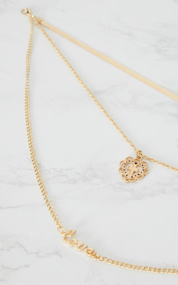 Gold Heart Cross Love Layer Necklace 4