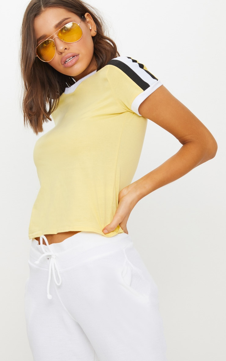 Yellow Triple Stripe Shoulder T Shirt  1