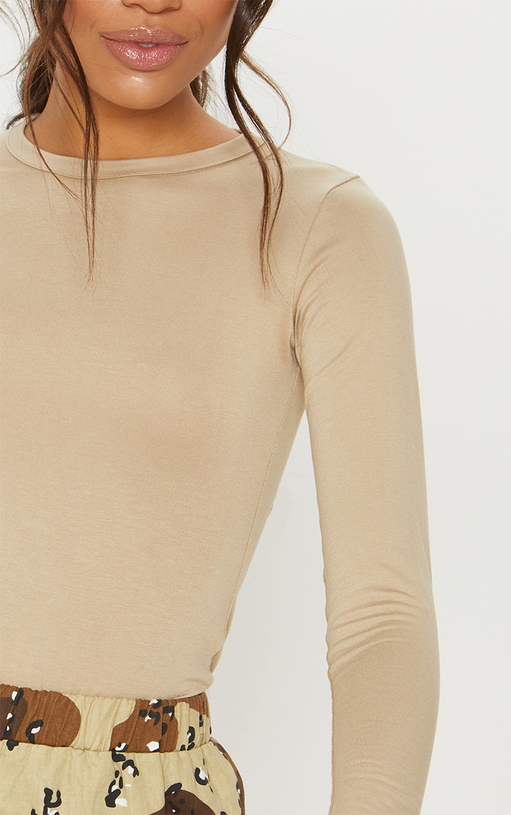 Basic Deep Stone Long Sleeve Fitted T Shirt 5