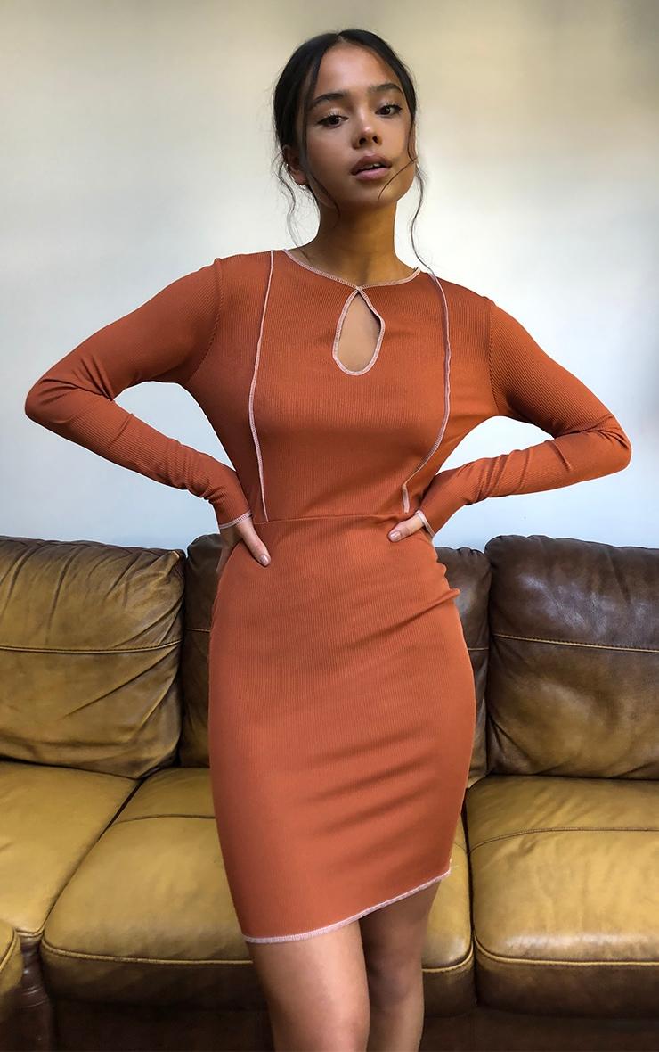 Rust Contrast Stitch Keyhole Bodycon Dress 4