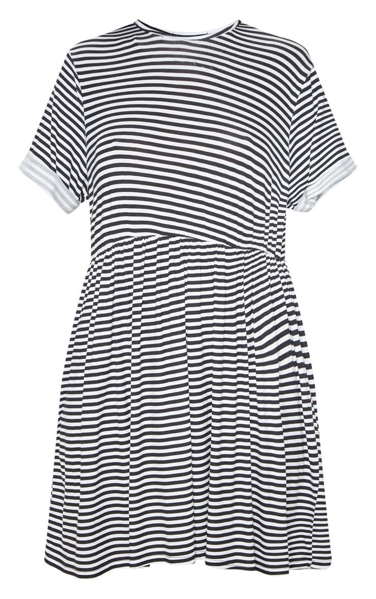 Cream Contrast Stripe Roll Sleeve Smock Dress 3
