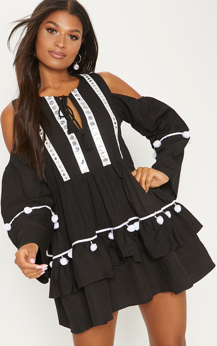 Monochrome Pom Pom Mirror Trim Shift Dress
