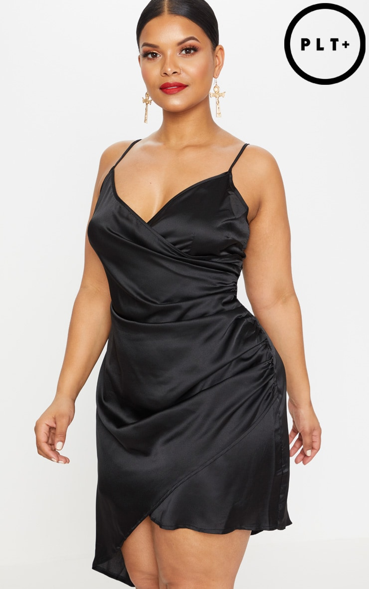 Plus Black Satin Wrap Dress