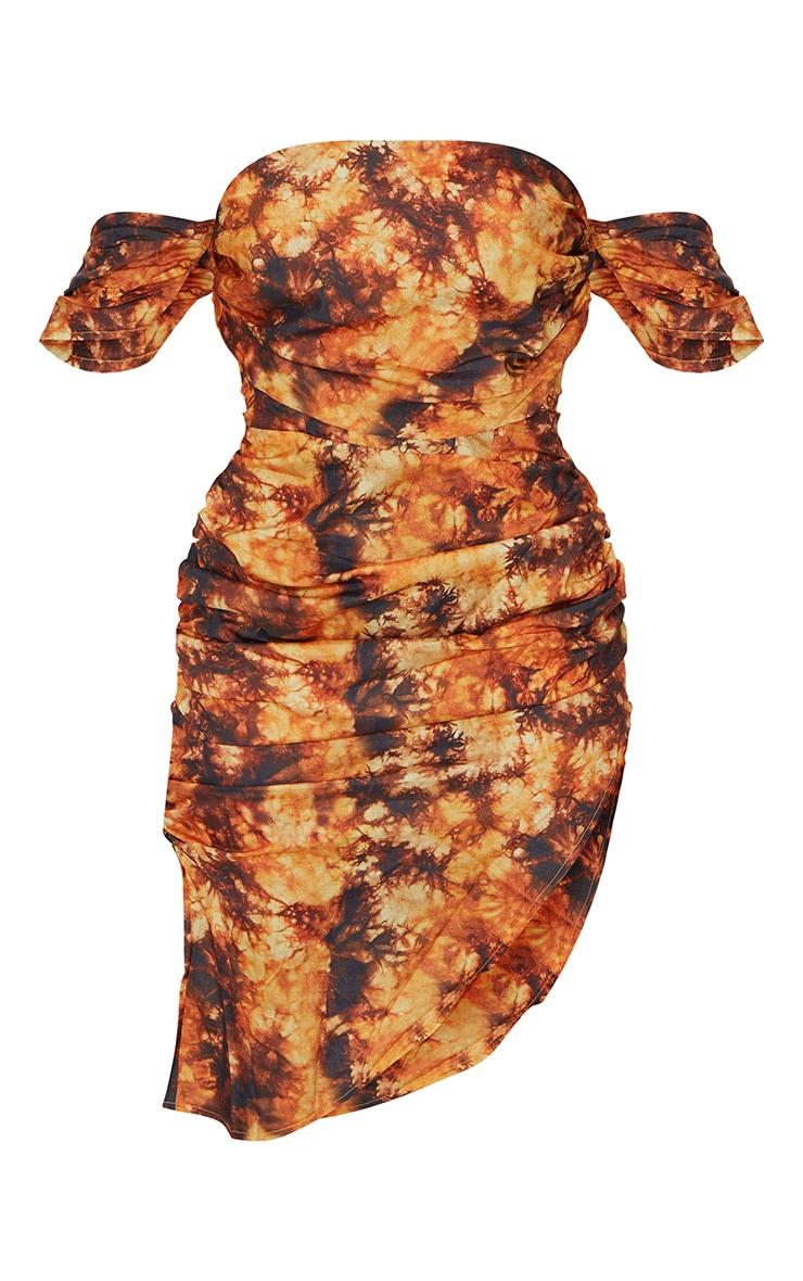 Orange Tie Dye Corset Detail Ruched Bust Midi Dress 5