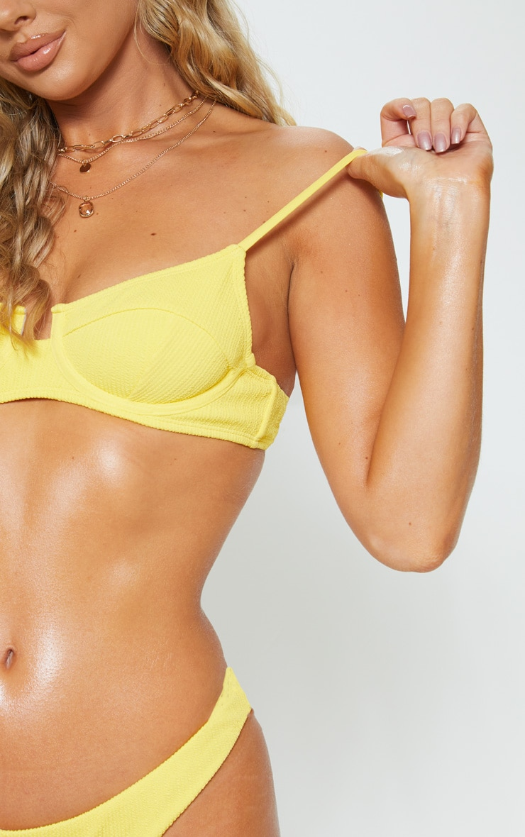 Yellow Underwired Crinkle Bikini Top 5