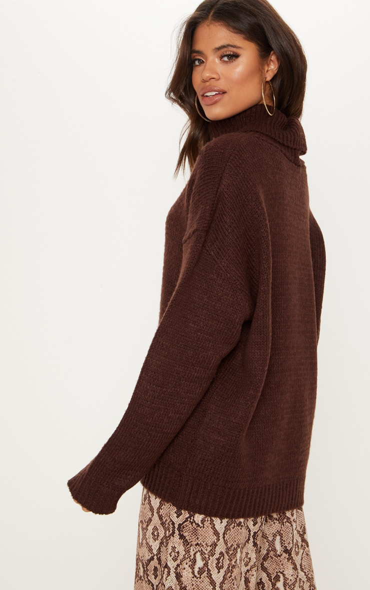 Chocolate High Neck Fluffy Knit Sweater  2
