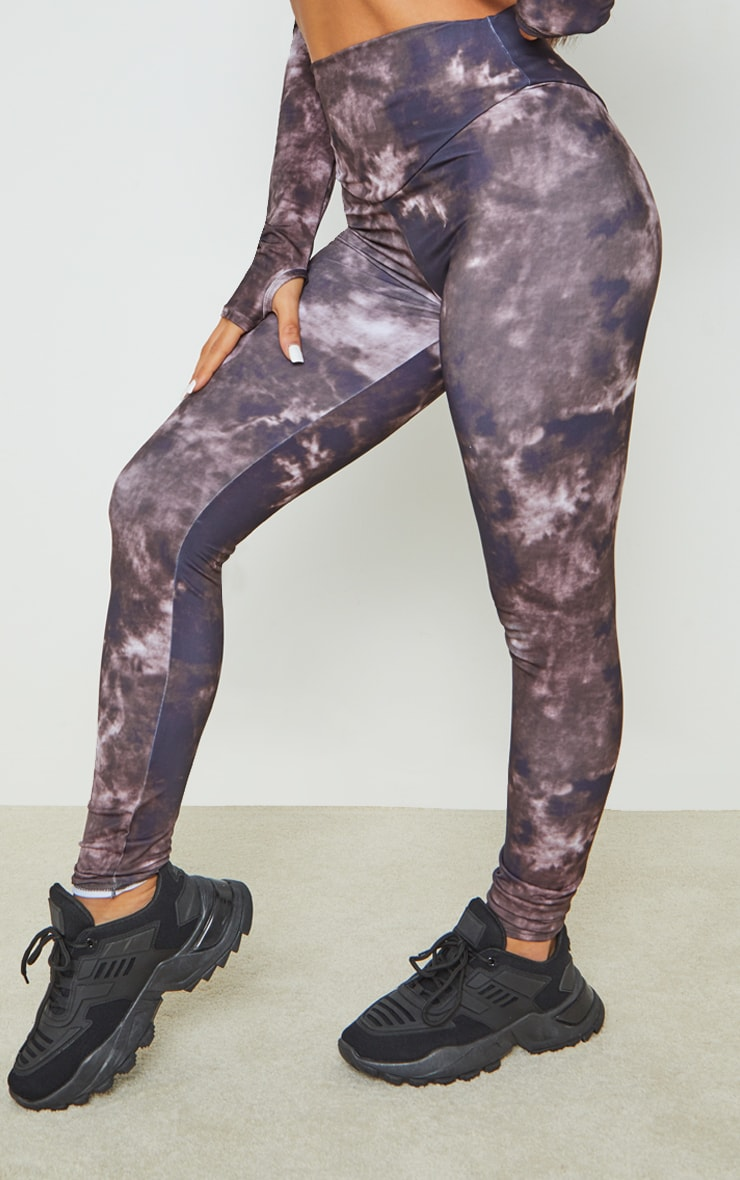 Chocolate Tie Dye High Waisted Sport Leggings 2
