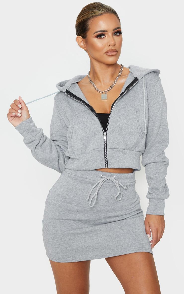 Petite - Hoodie court gris zippé 1