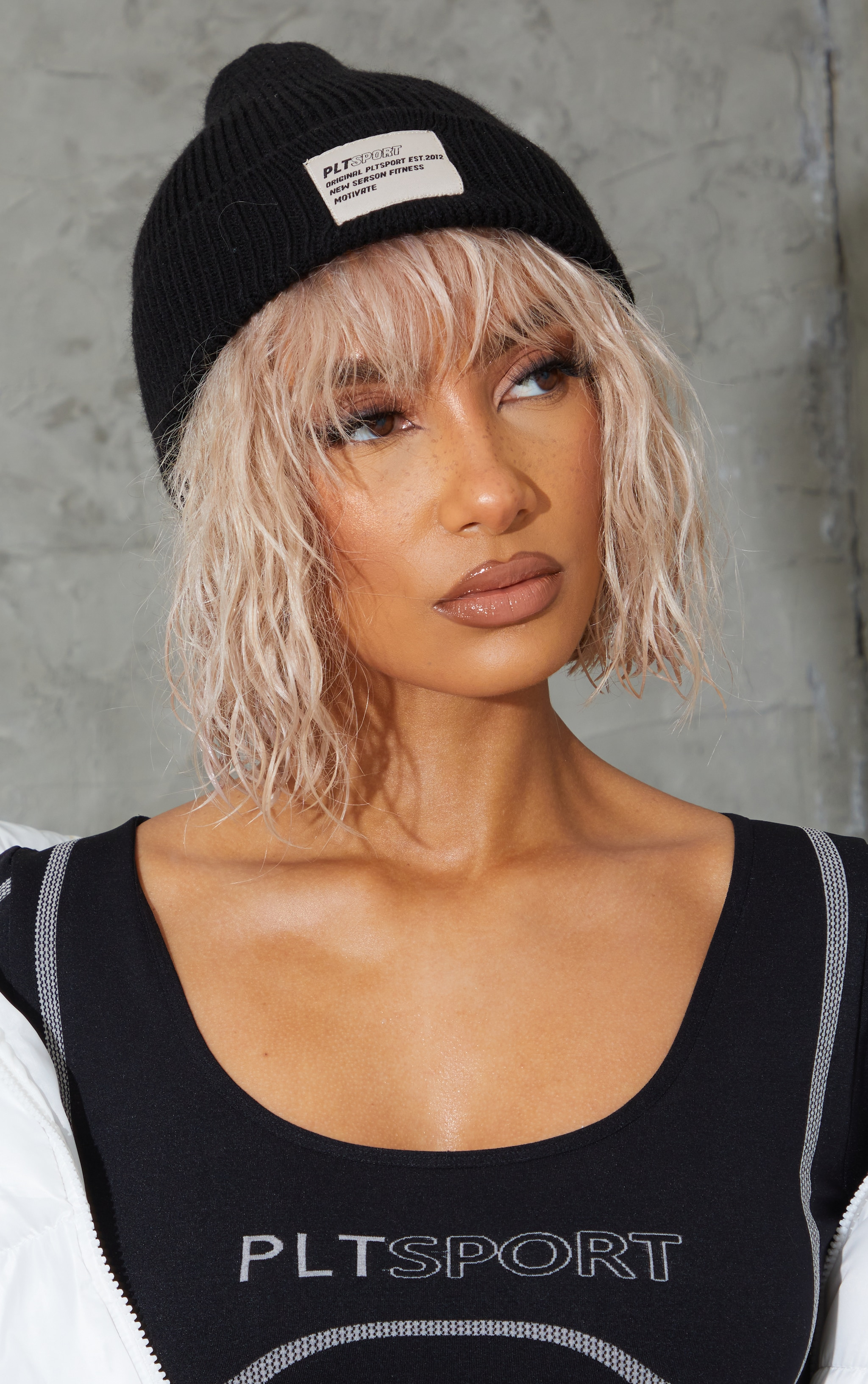 PRETTYLITTLETHING Black  Sports Beanie 1