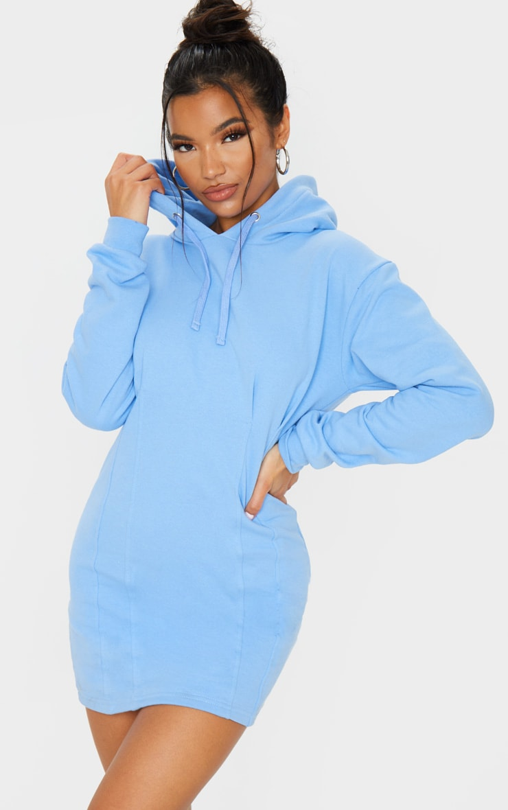Pastel Blue Pleated Hoodie Sweatshirt Dress 3