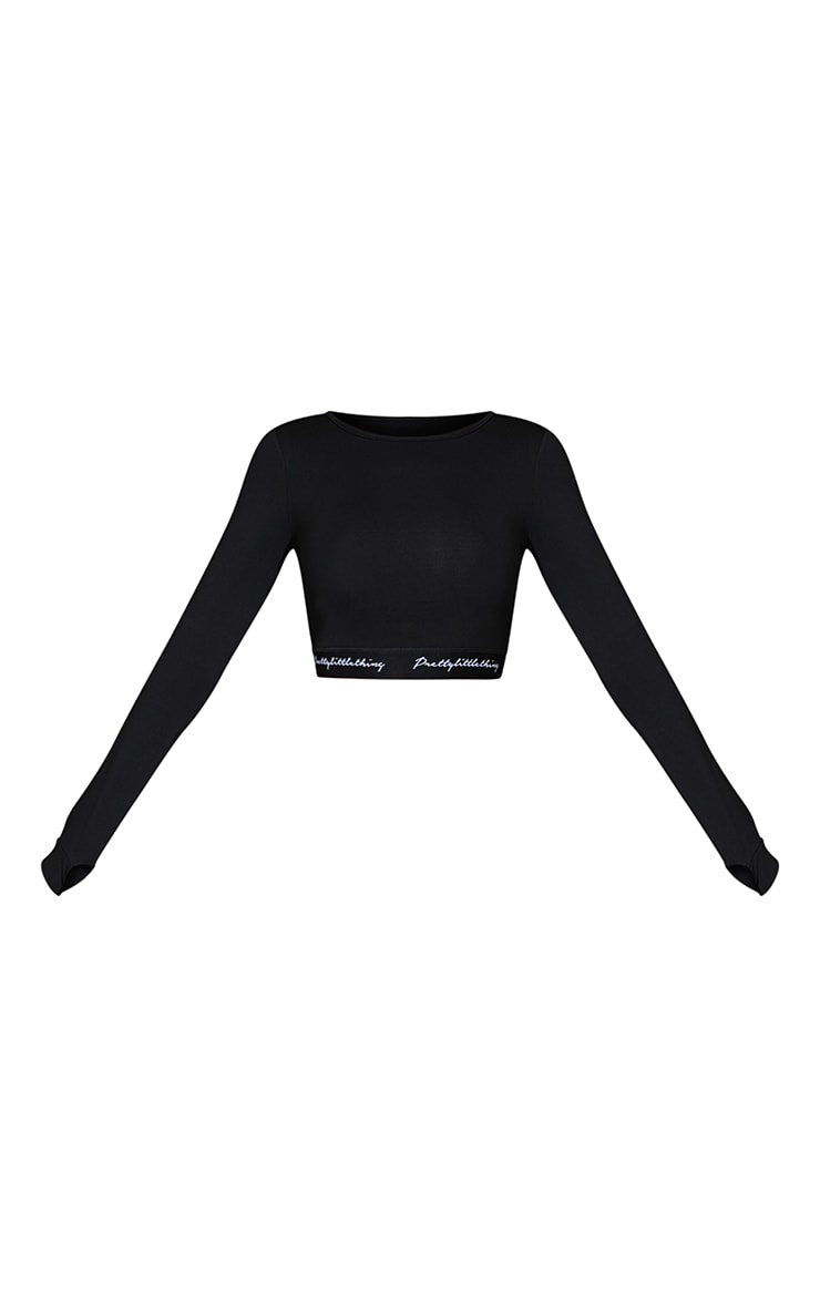 PRETTYLITTLETHING Black Band Long Sleeve Crop Top  5