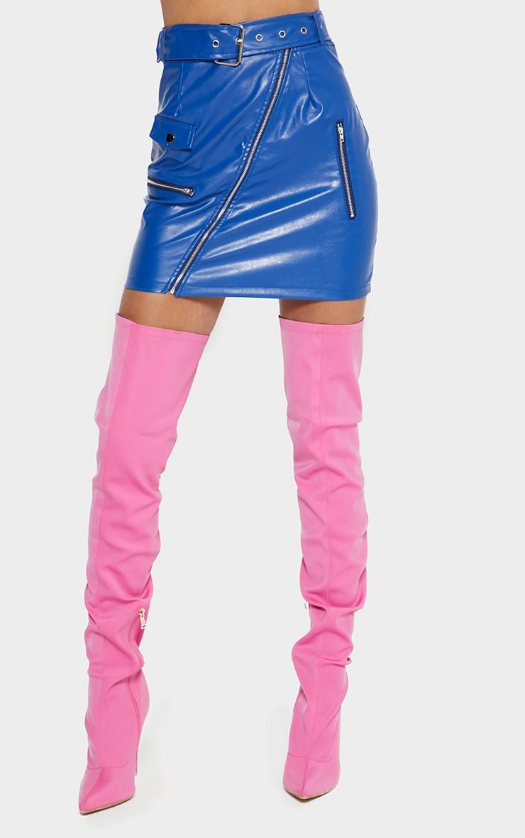 Cobalt Biker Belted Mini Skirt 2