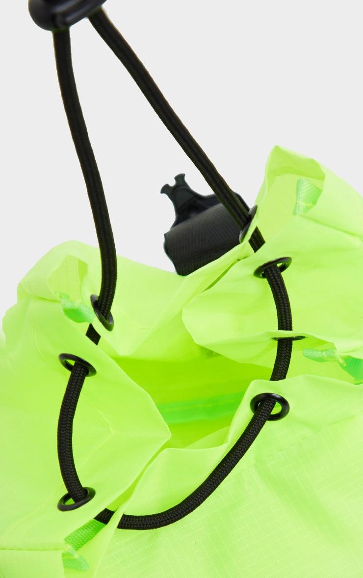 Neon Yellow Sporty Nylon Rucksack 3