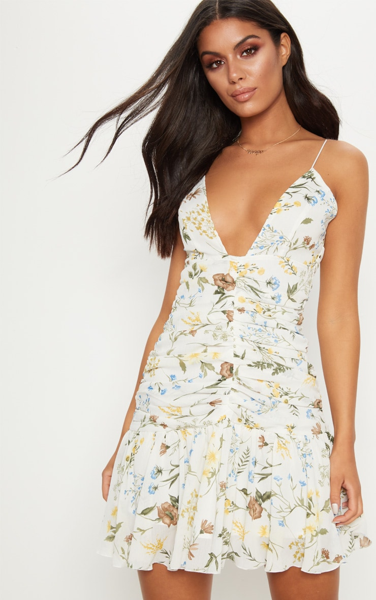 White Floral Print Ruched Detail Frill Hem Bodycon Dress 1