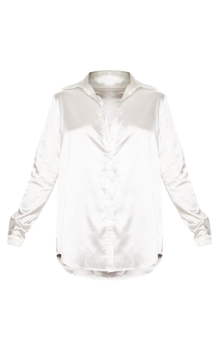 Tall White Satin Oversized Shirt 3