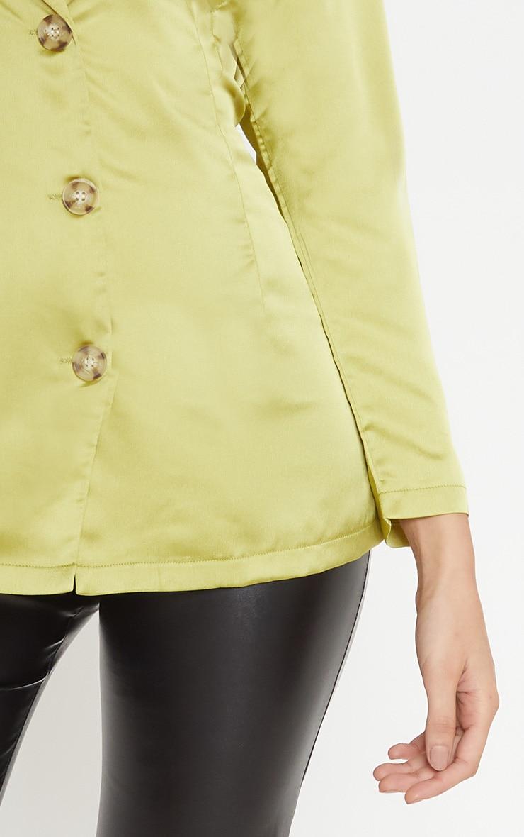 Lime Tortoise Shell Button Satin Blouse 5
