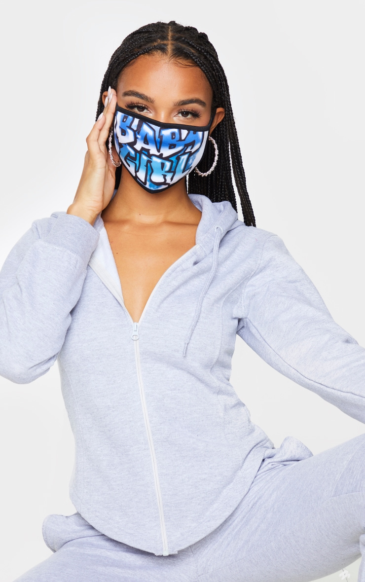 Blue Babygirl Graffiti Fashion Face Mask 1
