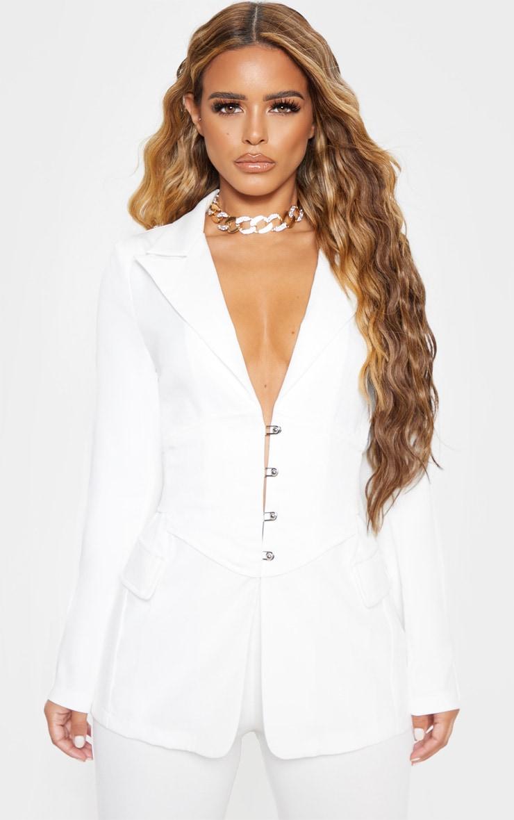 Petite White Corset Woven Blazer 1