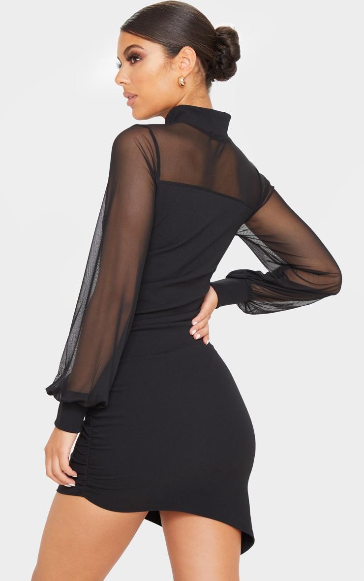 Robe moulante froncée noire à corsage en mesh et manches longues 2