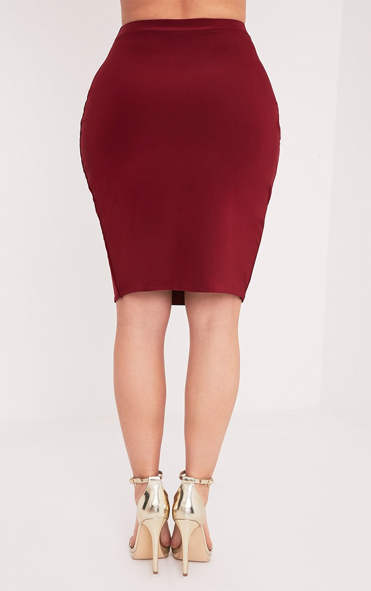 Shape Georgie Burgundy Slinky Mini Skirt  4