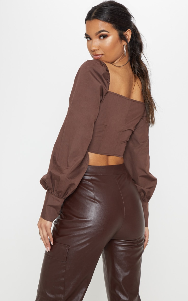 Chocolate Button Front Puff Sleeve Top 2