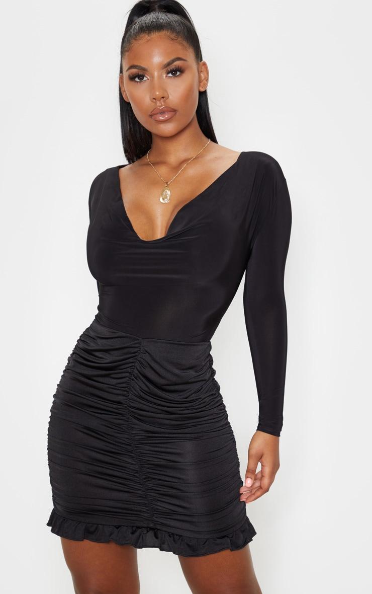 Black Slinky Ruched Frill Hem Mini Skirt 1